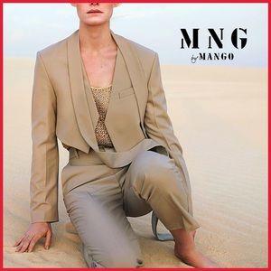 🏷 🆕 MNG   Mango Wool Blend Cropped Jacket + Tie
